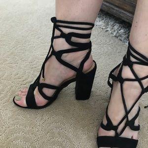ANN TAYLOR LOFT black lace up heeled sandals